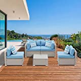 SUNBURY Outdoor 5-Piece Patio Furniture Set, PE Rattan Sectional Wicker Sofa, 4 Pillow and Coffee Table for Backyard Garden (Heritage Blue)