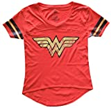 Wonder Woman Gold Foil Striped Sleeves Red Juniors T-shirt Tee