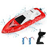 RC Boats for Pools and Lakes Remote Control Boats for Kids Adults 2.4Ghz Radio Controlled Boat Self Righting Rechargeable 10km/h High Speed Race Boat Toys Gifts for Boys Girls(Red)