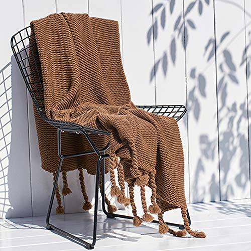 Chunky Knit Blanket for Couch Throw Warm and Soft Blankets Knitted Faux Wool (Brown, 50x60 inches)