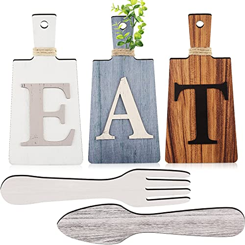 Cutting Board Eat Sign Set Hanging Art Kitchen Eat Sign Fork and...