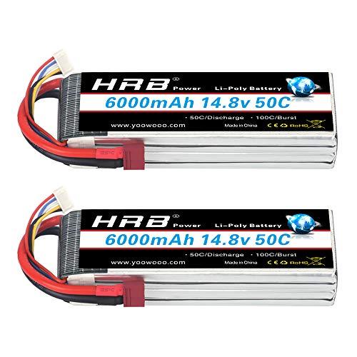 HRB 2 Pack 4S Lipo Batteria 14.8V Lipo 6000mAh 50C con Deans T Plug per Traxxas Slash X-Maxx RC Evader BX Car Buggy Truggy RC Heli Airplane Drone Hobby