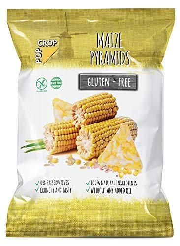 POPCROP Pyramids Maize, 10 x 80 g | Knusper-Snack aus Mais, Reis und Salz | High Carb, Low Fat, glutenfrei, vegan | Langsam gebacken ohne Öl | Ohne künstliche Zusatzstoffe