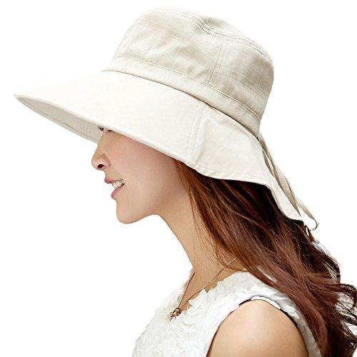 SIGGI faltbarer Sonnenhut Sommerhut UPF 50 + mit Nackenschnur Damen aus Baumwolle, 1005_Beige, Einheitsgröße
