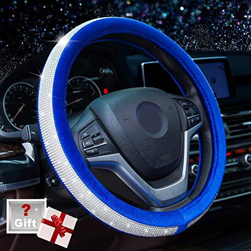 Alusbell Crystal Diamond Steering Wheel Cover Soft Velvet Feel Bling Steering Wheel Cover for Women Universal 15 inch Plush Wheel Cover for Escape Fusion Focus Accord Prius Rav4 Sapphire Blue