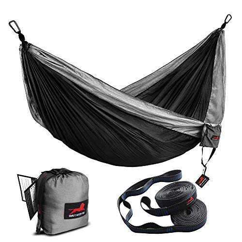"Honest Outfitters Single Camping Hammock with Basic Hammock Tree Straps,Portable Parachute Nylon Hammock for Backpacking Travel Grey/Blue 55"" W x 108"" L"