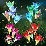 Lumiere Solaire Exterieur, KagoLing 4 Pièces Lily Lampe Solaire Jardin LED...