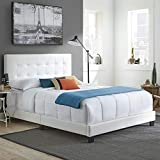 Boyd Sleep Murphy Upholstered Platform Bed Frame Mattress Foundation with Tufted Panel Headboard and Strong Wood 13-Slat Supports: White Faux Leather, Full Size