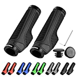 LYCAON Bike Bicycle Grips (Color-Blocking) Anti-Slip Bicycles Bikes Handlebar Grips Fits MTB/BMX/Mountain/Downhill/Foldable/Urban Bicycles/Scooter (Black, General End Caps)