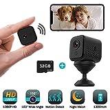 32GB Mini Hidden Camera Wireless, JoyGeek 1080P HD WiFi Small Portable Indoor Home Security Camera Motion Sensor Surveillance Nanny Cam Night Vision 1300mAh Battery iOS Android APP Remote Viewing
