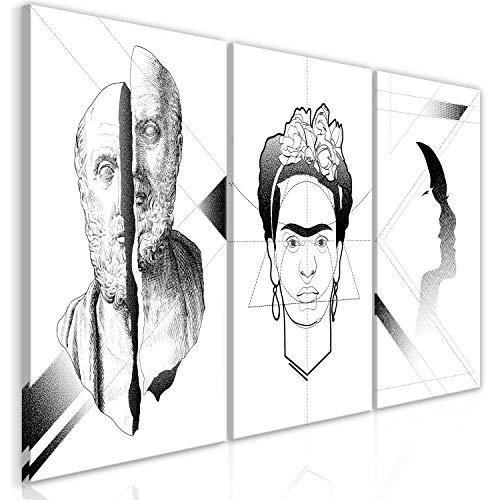 murando Cuadro Blanco Negro 180x90 cm impresión de 3 Piezas en Material Tejido no Tejido artística fotografía Imagen gráfica decoración de Pared Frida Kahlo Aristoteles h-A-0121-b-e
