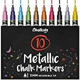 Metallic Liquid Chalk Markers Fine Tip - Dry Erase Marker Pen for Chalkboard Signs, Windows, Blackboard, Glass - 3mm Reversible Tip (10 Pack) - 50 Chalkboard Labels Included