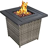Best Choice Products 28in Fire Pit Table 50,000 BTU Outdoor Wicker Patio Propane Gas w/Faux Wood...