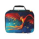 Aves Animales Fuego Phoenix Plumas Arte digital Ar Cooler Bolsas de almuerzo para el trabajo Bolsa de picnic a prueba de fugas con aislamiento 9.51 × 3.15 × 7.48 pulgadas Compras de comestibles Bols