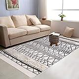 Tufted Geometric Cotton Area Rug 3' x 5', KIMODE Hand Woven Print Tassels Throw Rugs Carpet Door Mat,Indoor Area Rugs for Bathroom,Bedroom,Living Room,Laundry Room