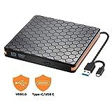 Lecteur CD/DVD Externe, Portable RW/ROM Mince ROM Transmission Rapide, Compatible avec Win10/ 8/7/ XP,Ordinateur Portable,Mac/Macbook Air/Pro/Mac/PC (Orange)