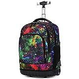 GRANDLIN Mochila con ruedas, para equipaje, escuela, libros, para portátil, multifunción, con ruedas, para estudiantes universitarios, escolares, para viajes, niños y niñas, Galaxy