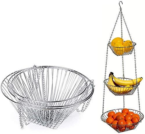 BAUBEY 3-stöckiger Hängekorb, Draht-Hängekorb, hängende Küche, Obstkorb, Gemüsekorb, Obstkorb, Obst-Organizer, Obst-Tablett, Ablaufkorb, Haushalt Obst-Tablett, Aufbewahrungskorb (Silber)