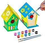 KKSJK Kit casa per Uccelli in Legno Fai-da-Te da assemblare e dipingere, Inclusi 12 Colori e 2 pennelli per Artigianato da Giardino all'aperto