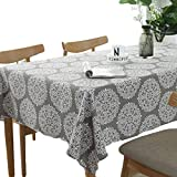 Meiosuns Tablecloth Grey Retro Table Cloth Rectangular Tablecloths Cotton Linen Table Cover Suitable for Home kitchen Decoration,Various Sizes (Retro printing, 55' x 86')