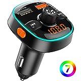 Bovon Transmetteur FM Bluetooth, 7 Couleurs Lumière Ambiante avec Mode de Respiration, Kit Main Libre Voiture Bluetooth avec Chargeur Allume Cigare USB 5V/2.4A + QC3.0, Soutien Carte TF/Clé USB