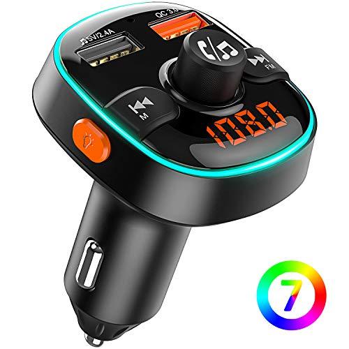 Bovon Trasmettitore Bluetooth per Auto, 7 Colori Controluce con Modalità Gradiente, FM Transmitter Bluetooth 5V / 2.4A + Caricatore Auto QC3.0, Kit Vivavoce per Auto, Supporto U Disk/TF Card