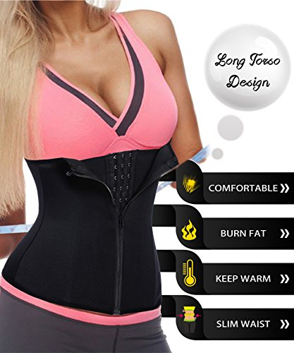 LODAY Waist Trainer Corset For Weight Loss Tummy Control Sport Workout Body Shaper , Black(zip&hooks), Large 2