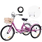 Viribus 26 Inch Single Speed Adult Tricycle | 3 Wheel Cruiser Bike with Removable Wheeled Basket, Dustproof Bag, Lights & Bell for Cycling Shopping, Picnic | Hybrid Beach Trike for Men & Women, Purple