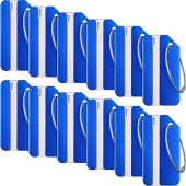 12 Pieces Luggage Tags Business Card Holder Aluminium Metal Travel ID Bag Tag for Travel Luggage Baggage Identifier (Blue)