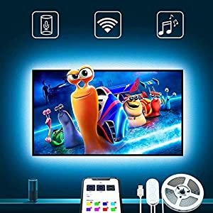 9.85 feet length: 9.85 feet (2x3.28 feet + 2x1.64 feet) length is suitable for your 46-55 inch tv Dual control methods: control the tv backlight via Alexa and app(only supports 2.4 GHz WiFi network) Music mode: the tv led strip lights can sync with a...