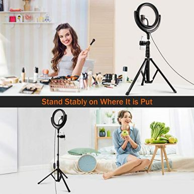 TaoTronics-10-Selfie-Ring-Light-with-61-Tripod-Stand-2-Phone-Holders-and-Bluetooth-Remote-Control-Dimmable-Led-Camera-Ring-Light-for-Live-Streaming-YouTube-Video-Make-Up-Photography