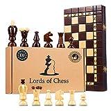 Amazinggirl Echecs echiquier en Bois - echec Jeu echecs Chess Voyage échiquiers Adulte Enfants Cadeau Jeux d'échecs (35X35 cm, Échecs)
