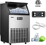 Kealive Commercial Ice Maker, Stainless Steel Freestanding Ice Maker Machine, 100lbs Ice in 24hrs with 33 lbs Storage Capacity, Self-Cleaning LCD Control Panel with Ice Scoop Connection Hose