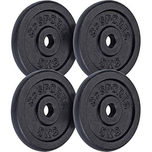 SCSPORTS | Gewichtset 20 kg | 4 x 5 kg | Gietijzer | 30/31 mm | Getest en goedgekeurd door Intertek
