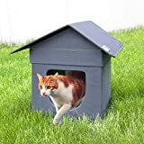 Kitty City Outdoor Stackable Cat House, Cat Cube, Water Resistant Condo, Gray (CM-10024-CS01)