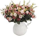 Lot de deux bouquets de roses artificielles en soie - 7branches et...
