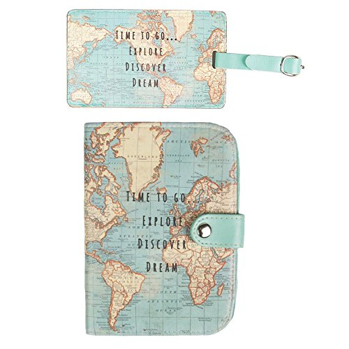 Sass & Belle - Custodia per passaporto con mappa del mondo vintage Multicolore Set of 2