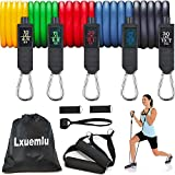【2021 Upgraded】 Resistance Bands Set with Handles, Door Anchor, Ankle Straps and Workout Guide - Lxuemlu Exercise Bands for Men Women Resistance Training, Home Workouts