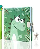 CAGIE Dragon Diary for Boys Journal with Lock and Key Secret Private Soft Leather Journal 192 Pages Lined and Blank Pages Journals for Writing with Pen 6.3 inch x 6.3 inch Kids Diary