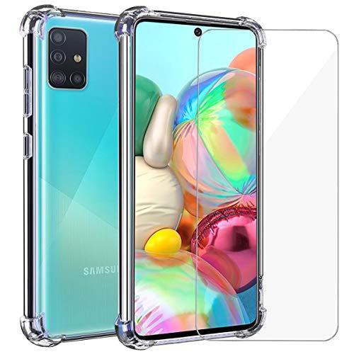 Annhao Funda Samsung Galaxy A71 + Cristal Templado, Transparente...