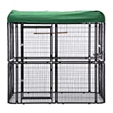 wonline Large Walk in Bird Cage, with Cover Top Parakeet Finch Budgie Conure Lovebird Aviary Pet House Heavy Duty Black