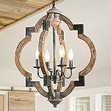 LNC Farmhouse Chandelier, 4-Light Rustic Chandelier for Foyer, Dining Room, Kitchen Island, 19.7'' Dia