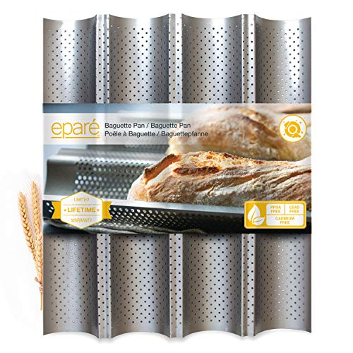 Eparé Baguette Pan - Non Stick Tray For French & Italian Bread Baking - Perforated Loaf Mold Pans - Sourdough Proof Rack