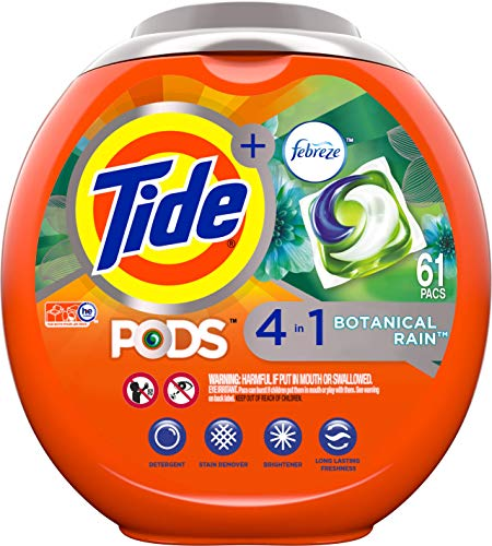 Tide PODS Laundry Detergent Liquid Pacs, Botanical Rain Scent, 4 in 1 HE Turbo, 61 Count (Packaging May Vary)