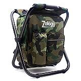 Zology Chaise de camping pliable - Sac à dos avec sac...