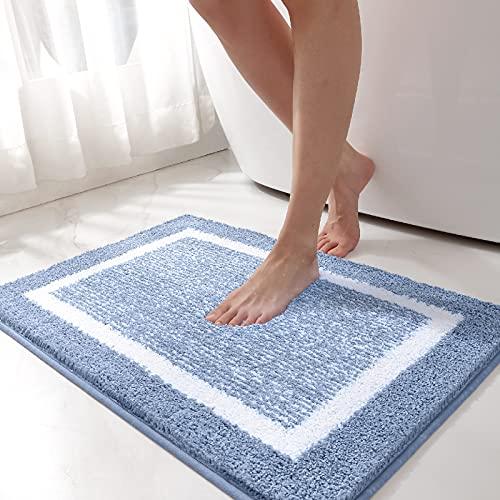 Color&Geometry Tappeto Bagno, 40 x 60 cm Tappeto Doccia Antiscivolo in Microfibra, Tappetino Bagno Lavabili in Lavatrice, Assorbente e Morbido (Blu)