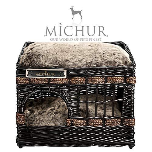 MICHUR Jerry Katzenhöhle Hundehöhle Katzenkorb Hundekorb, Katzenkorb aus Weide, Katzenbett braun, Katze WEIDE Rattan Natur ca. 57x35x43cm (Liegefläche ca. 55x33cm)