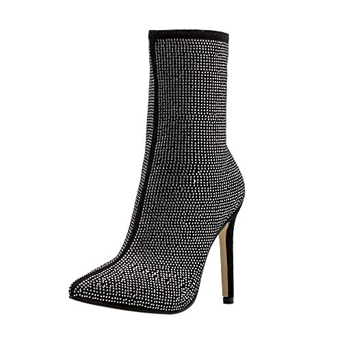 Peize Women Classic Water Drill Solid High Heels Boots Ladies Leisure Side Party Zipper Shoes