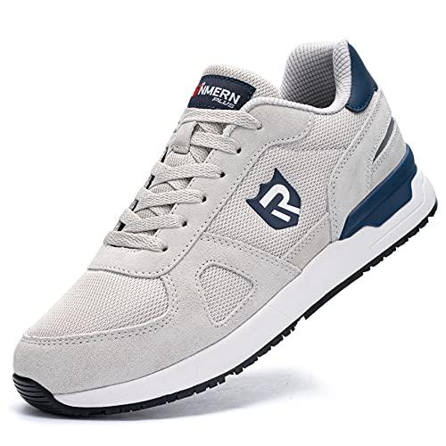 LARNMERN PLUS Zapatillas de Deporte Hombres Antideslizante Antiestático Running Zapatos para Correr Gimnasio Sneakers Deportivas Transpirables(Gris 40)