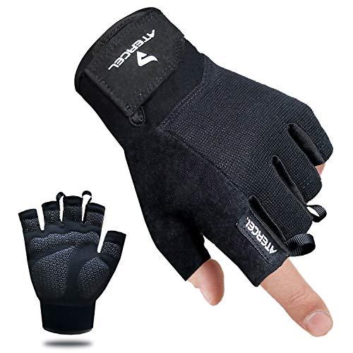Atercel Fitness Handschuhe Gewichtheben Handschuhe für Crossfit, Bodybuilding, Radsport, Gym, Krafttraining(Schwarz, M)